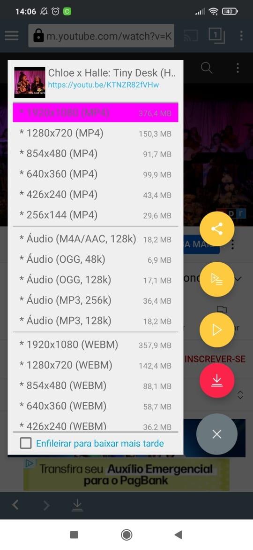 Tela de escolha de tamanho do download do APK Tubemate