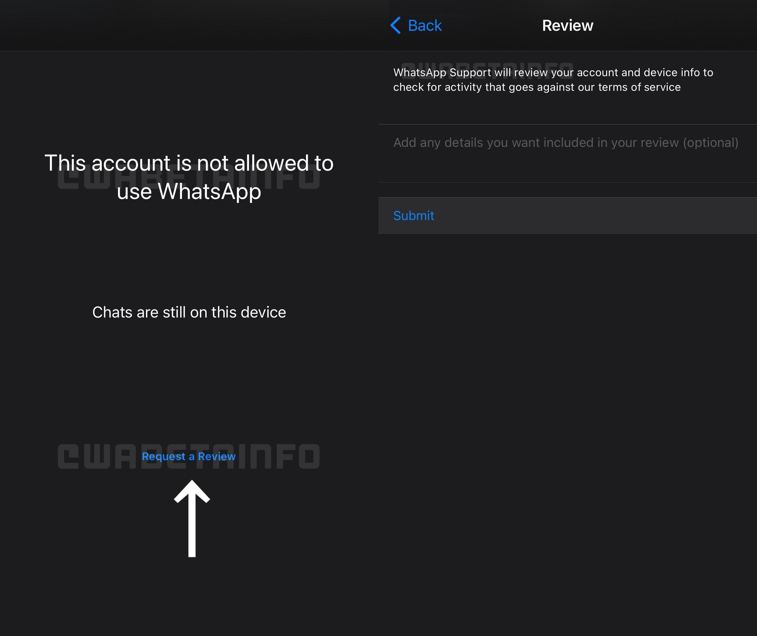 Novo recurso do WhatsApp vai permitir a revisão de contas banidas de forma injusta. (Fonte: WABetaInfo/Reprodução)