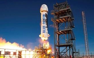 Launch of the New Shepard rocket, which will take billionaire Jeff Bezos into space.