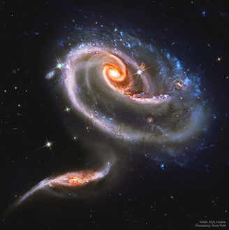 Set of interacting galaxies, Arp 273, also known as