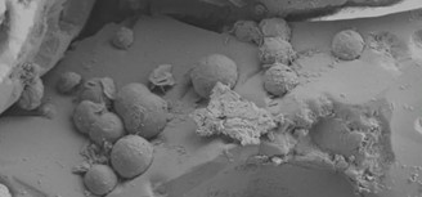 Imagem de microscopia eletrônica revela detalhes da estrutura do meteorito ancião.