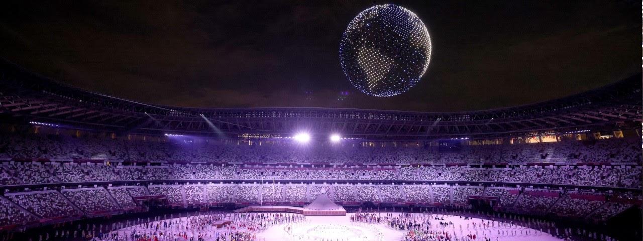 Imagem de: Milhares de drones iluminam céu na abertura das Olimpíadas de Tóquio