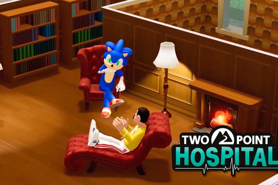 Sonic é psiquiatra em crossover com Two Point Hospital