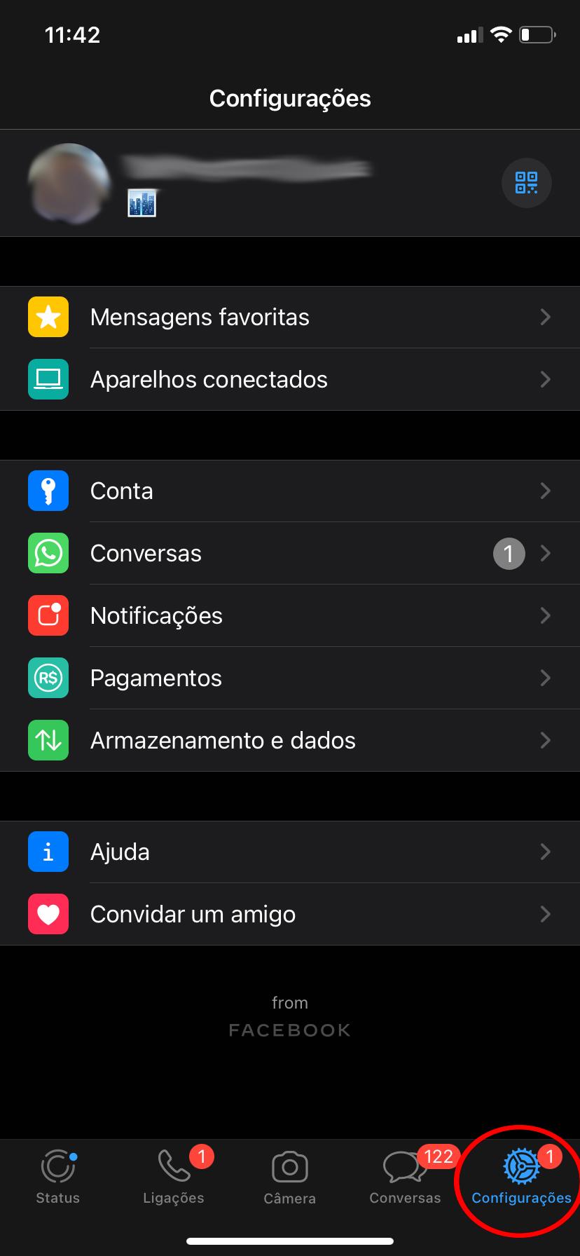 Menu 'Configurações' no sistema iOS (Fonte: TecMundo)