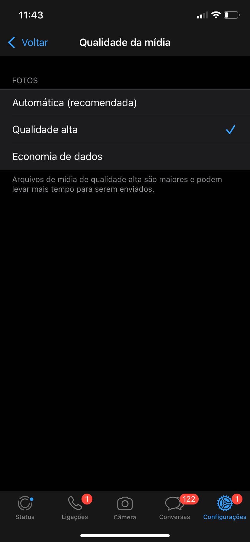"""No menu """"Qualidade de Mídia"""" selecione a opção """"Qualidade Alta"""" (Fonte: TecMundo)"""