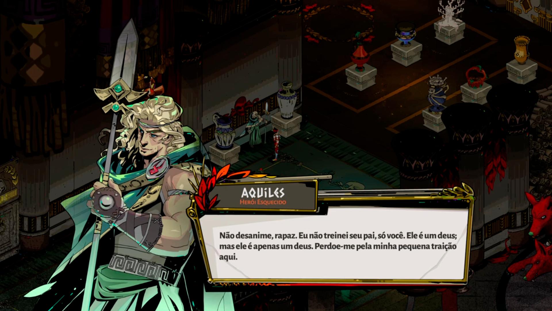Achilles talking to Zagreus about Hades' power.