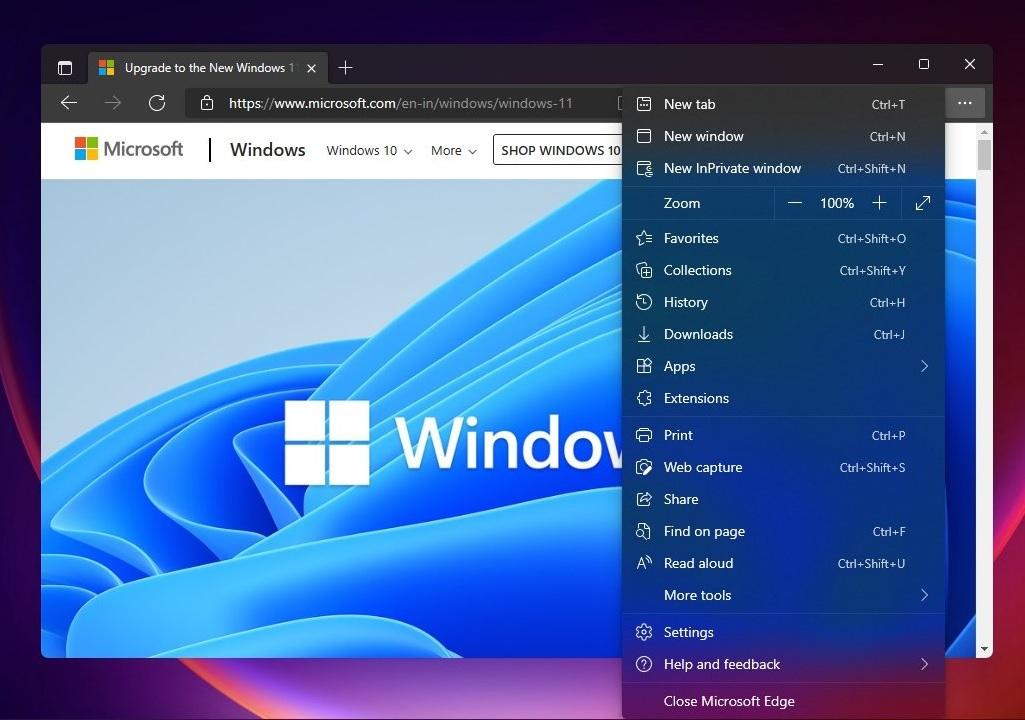 Usando Mica en la barra de pestañas de Microsoft Edge y Acrylic en el menú de opciones