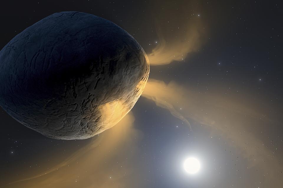 Ilustração mostra o resultado da evaporação de sódio no asteroide Phaethon