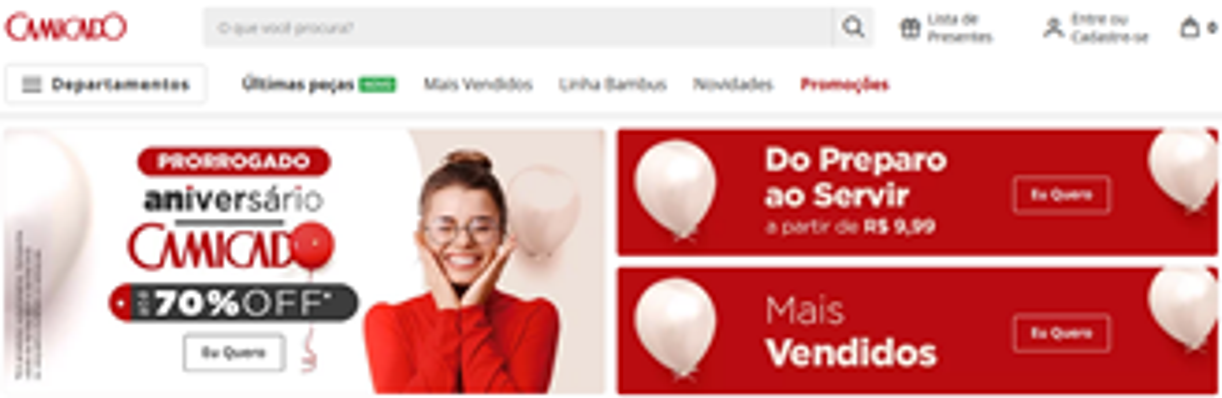 O site e aplicativo da Camicado, pertencente ao mesmo grupo, também já está funcionando
