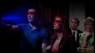Famous scene in Charlie's bedroom in the episode that unites Two and Half Men and CSI: Miami
