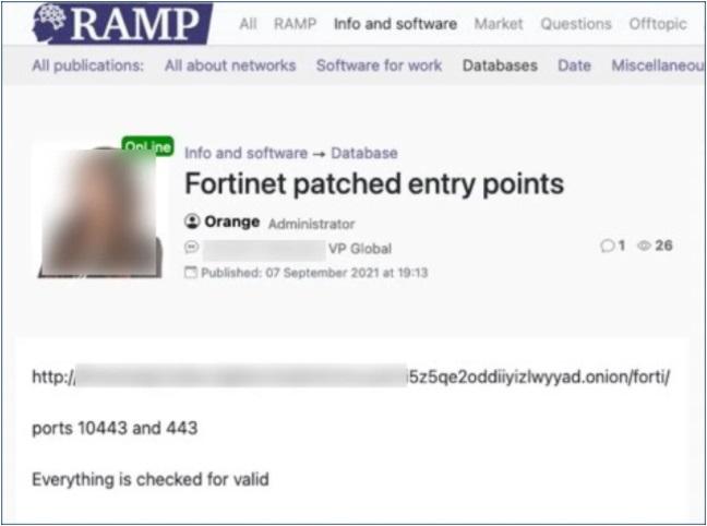 A postagem no fórum hacker direciona para um servidor acessado via Tor.