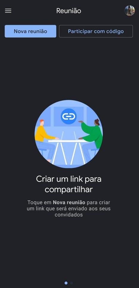 Tela de nova reunião do google meet