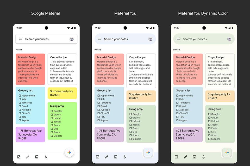 Google Keep ganha design inspirado no Android 12; veja comparação