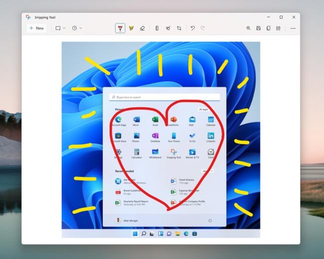 Ferramenta de recorte atualizada no Windows 11.