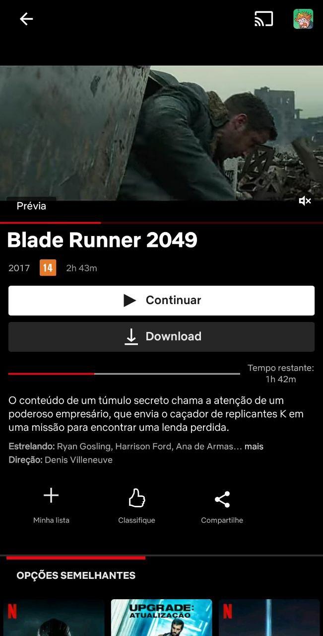 Tela do filme blade runner 2049 no netflix no android