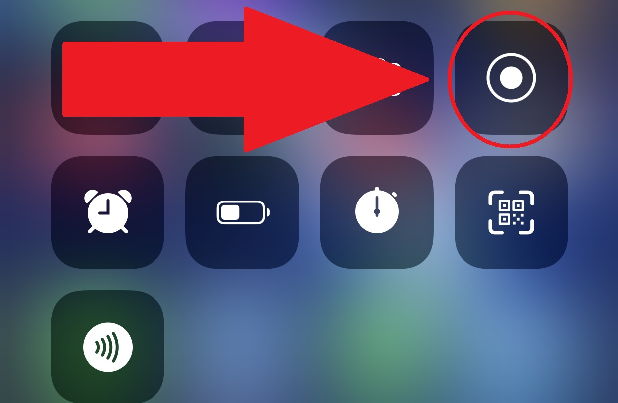 iOS Record Screen button may vary in position depending on user settings