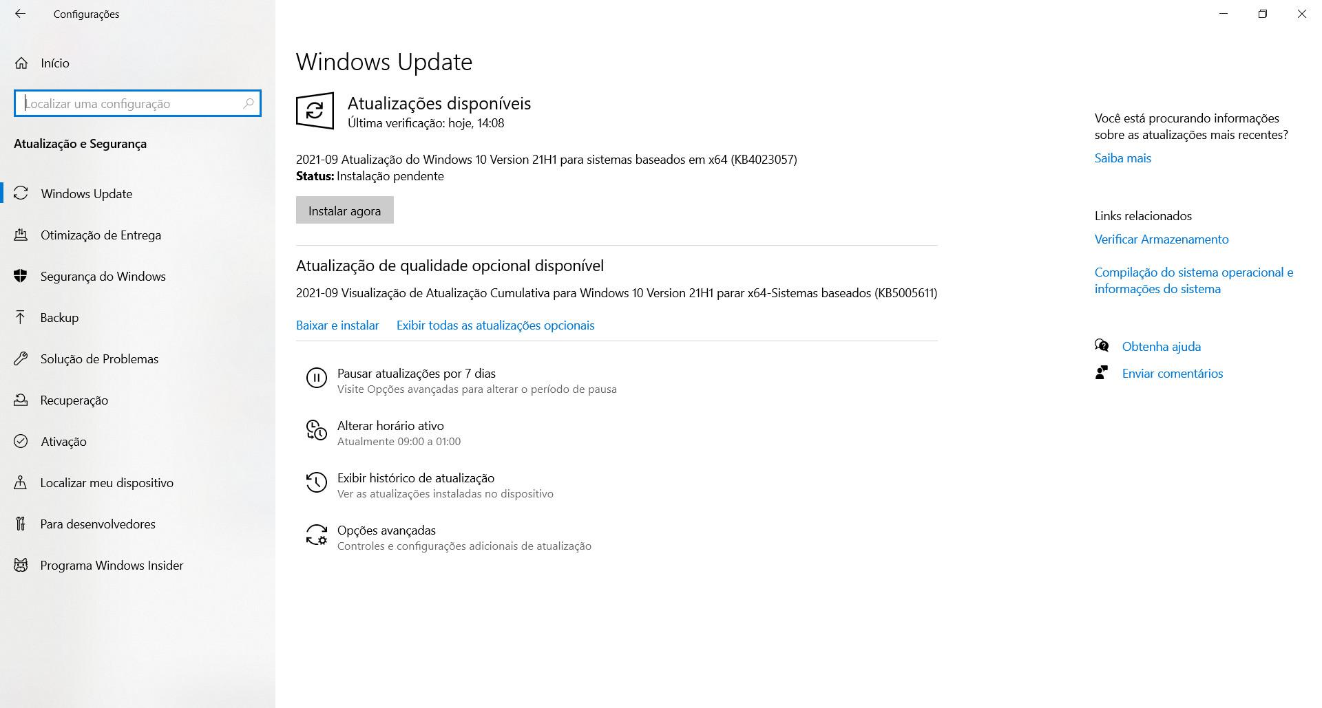 El parche KB5005611 debe instalarse manualmente.  (Fuente: Windows 10 / Reproducción)