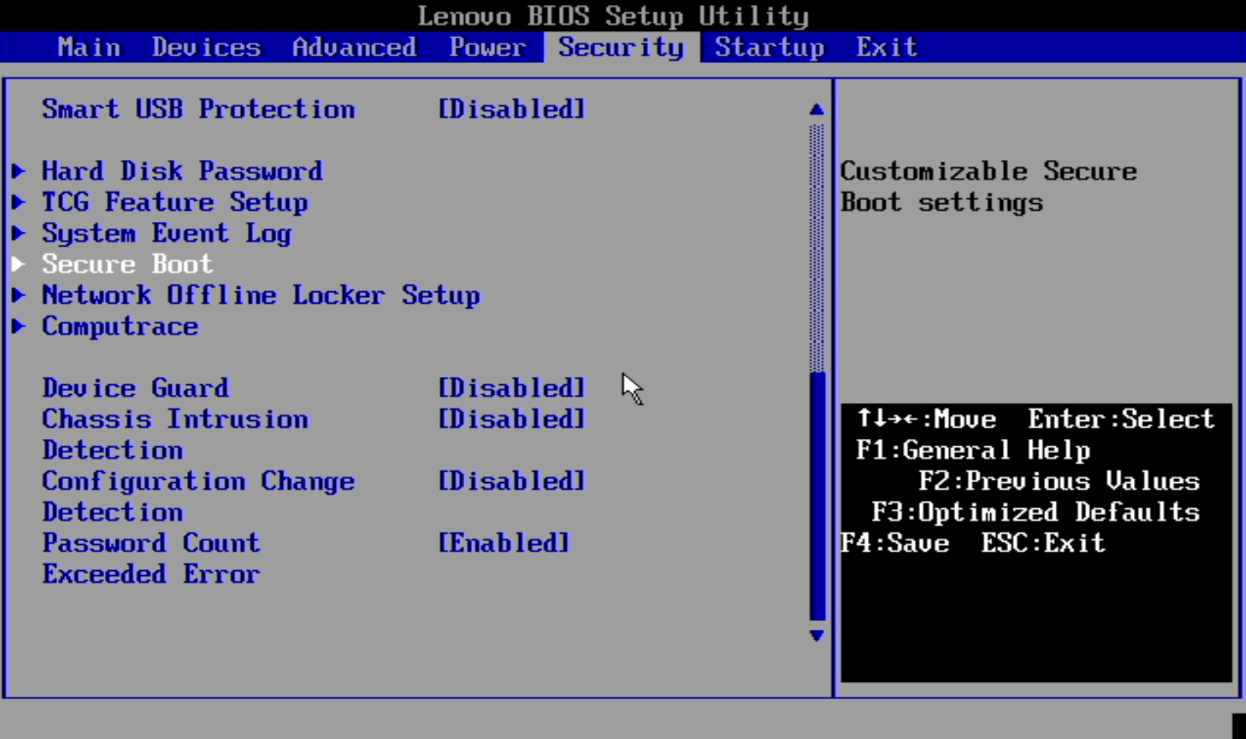 """Option to enable the """"Secure Boot"""" in the BIOS of a Lenovo device.  (Source: Lenovo / Reproduction)"""