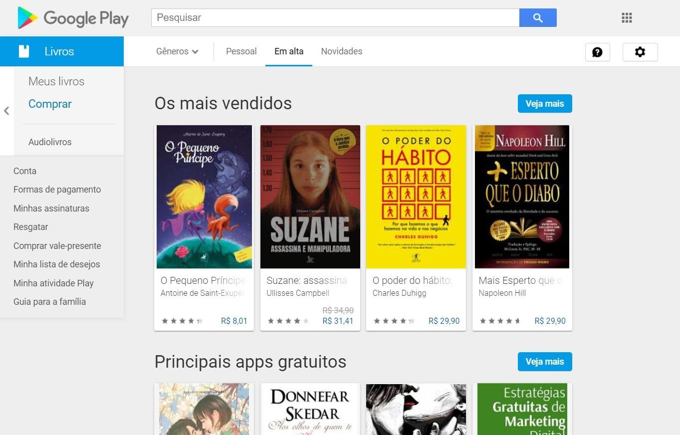 Google Play Books Homepage