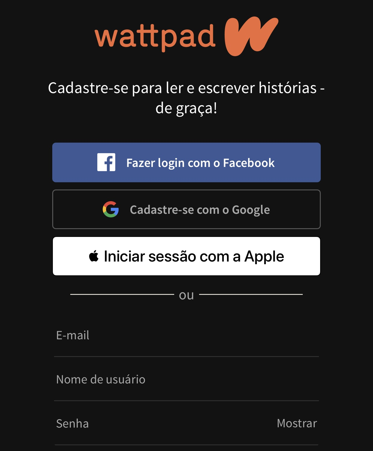 It is possible to import your profile on other networks to create your registration on Wattpad