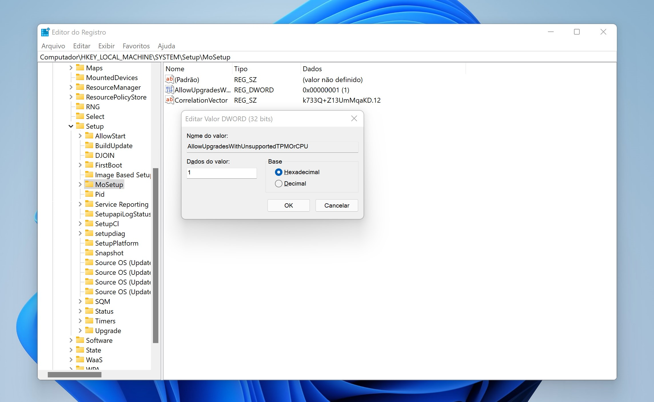 Editor do registro Windows