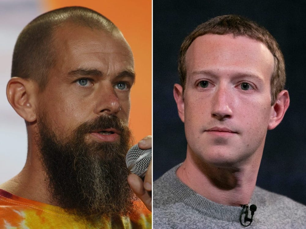 Jack Dorsey, CEO do Twitter (à esquerda), e Mark Zuckerberg, CEO do Facebook (à direita).