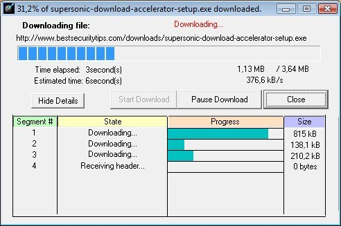 Supersonic Download Accelerator - Imagem 2 do software