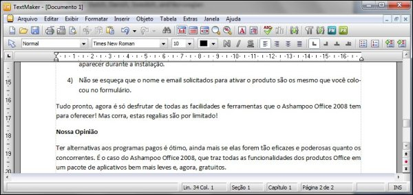 Interface do TextMaker