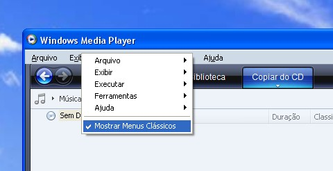 Menu clássico do player.