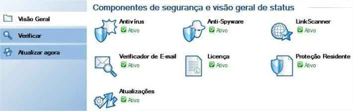 Interface do novo AVG