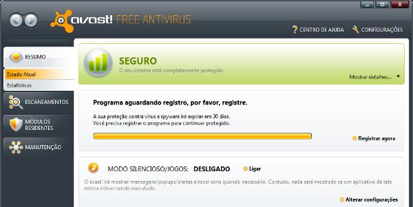 Interface em português do Avast! Free Antivirus
