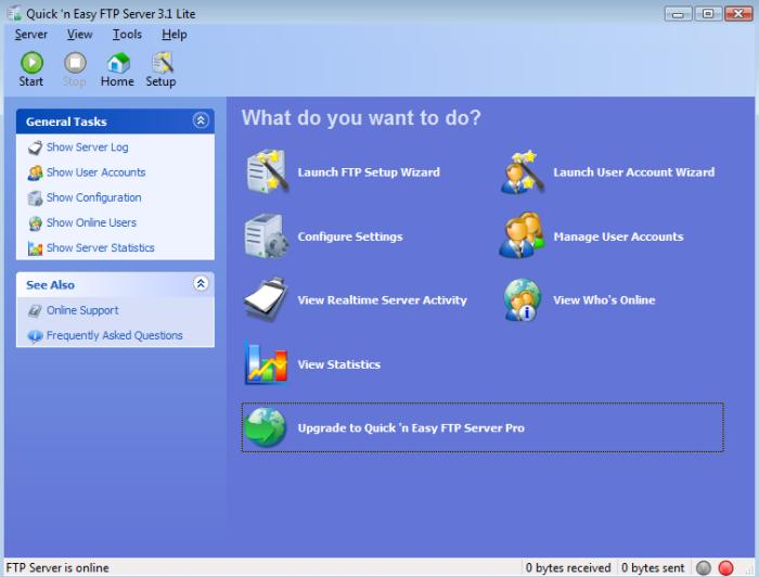 Interface geral do Quick and Easy FTP Server