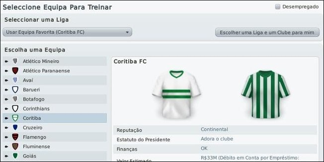 Detalhe do Football Manager.