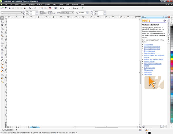 Interface do Corel X5