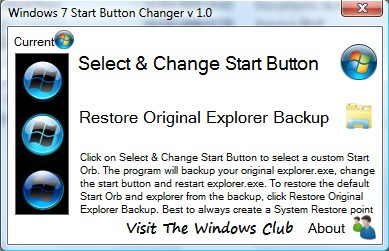 Windows 7 Start Button Changer - Imagem 1 do software