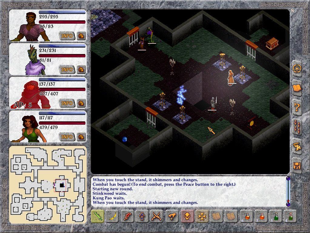 Interface completa de Avernum 5