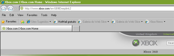 Visual do Internet Explorer 8 otimizado