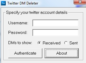 Interface do Twitter DM  Deleter. Muito simples!