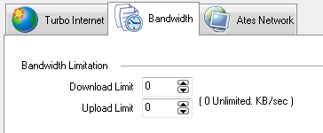 Configure os limites máximos de download e upload