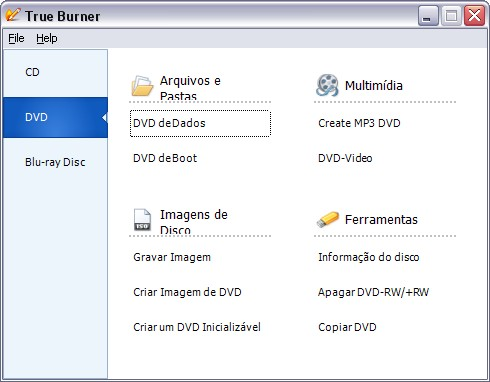 Interface principal do programa