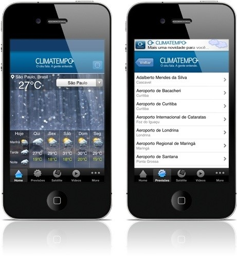 Aplicativo do Climatempo para iPhone.