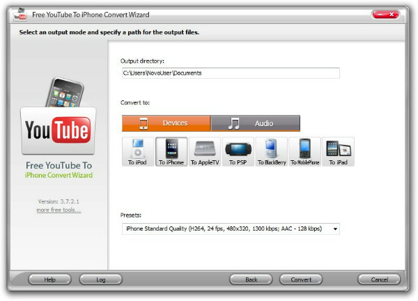 Free YouTube To iPhone Convert Wizard - Imagem 1 do software