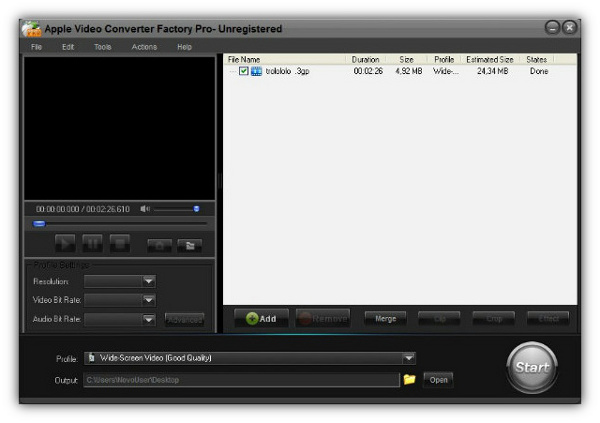 Apple Video Converter Factory Pro - Imagem 1 do software