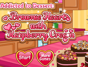 Addicted to Dessert: Brownie Hearts with Raspberry Cream
