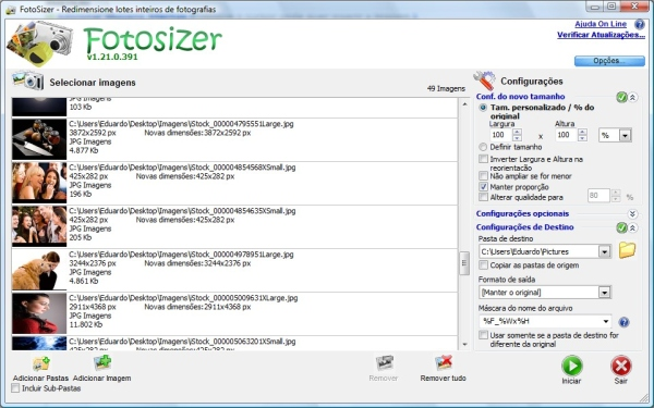 Fotosizer - Imagem 2 do software