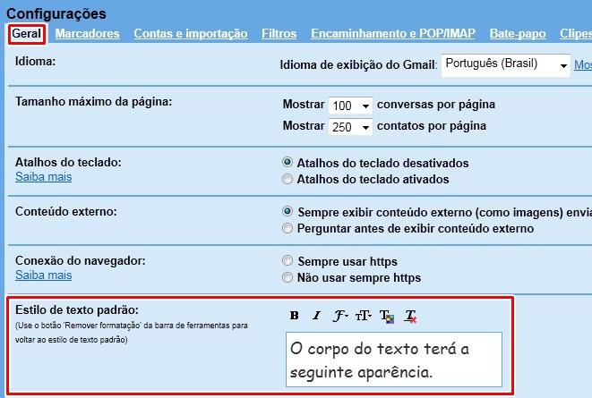 Modifique o estilo padrão do texto