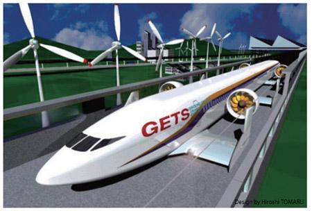 a378363552e Trem com formato de um avião flutua a 200 quilômetros por hora ...