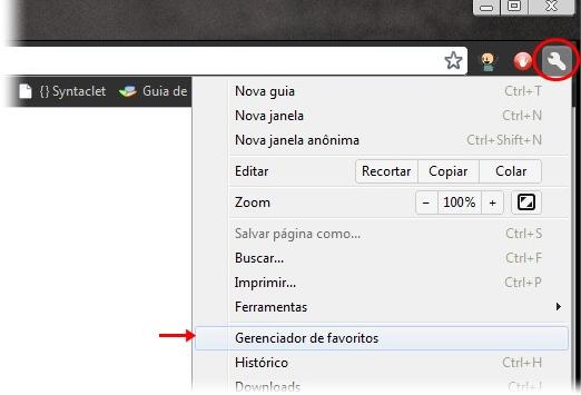 Acessando os favoritos do Chrome