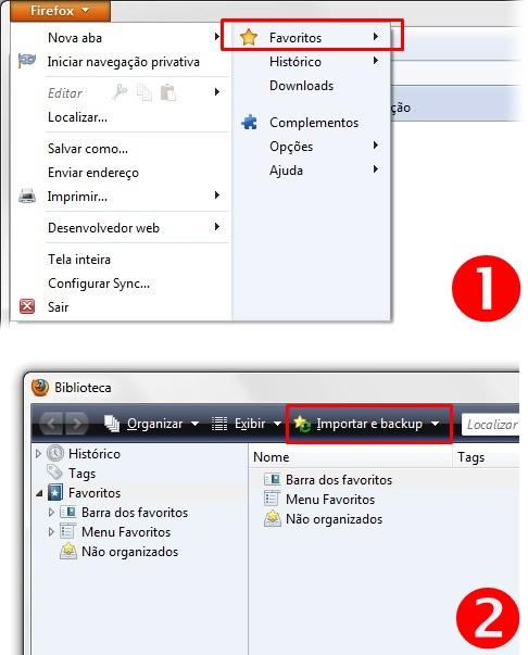 Acessando a importação do Firefox