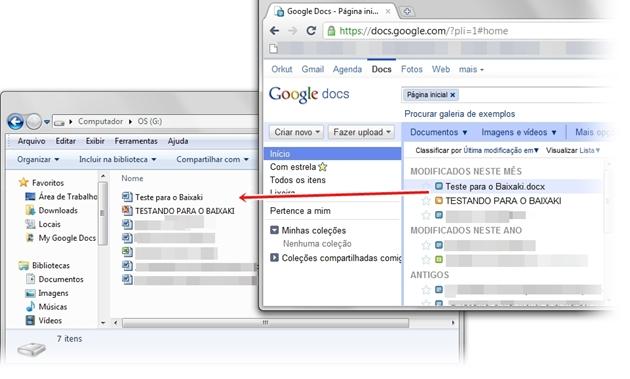 Sincronizando o Google Docs com o computador.